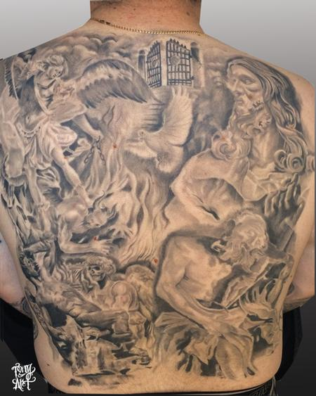Tattoos - Religious Collage ,BACK Piece,black AND GREY - 100040
