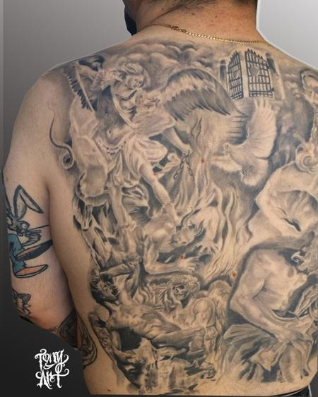 Religious Collage ,BACK Piece,black AND GREY Tattoo Design Thumbnail