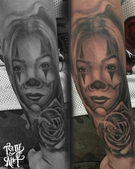 Tattoos - rose,portrait,clown,chicano style,gangster girl,clowns,black and grey tattoos,west coast,California - 95997