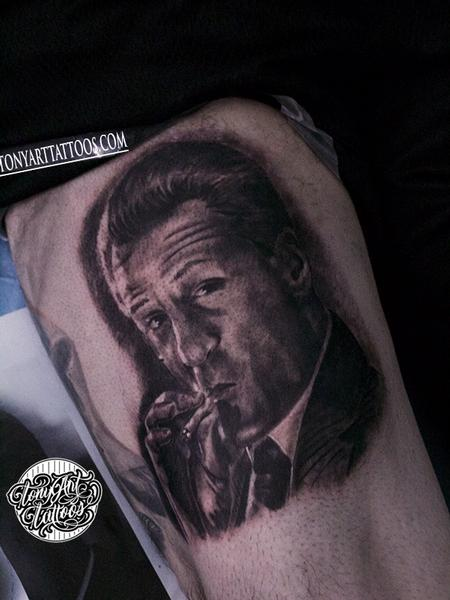 Tony Tapia - Robert De Niro,Goodfellas movie ,portrait,photorealism ,black and gray,west coast ,California