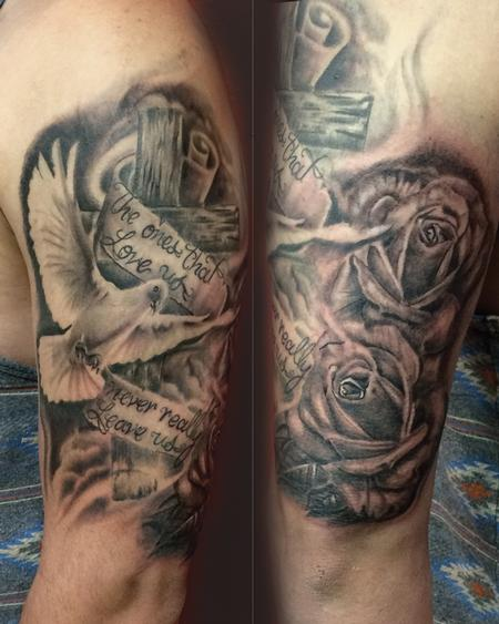 Tattoos - Holy spirit tattoo,dove,wooden cross,writing,roses,rose tattoos,black and grey tattoos - 97599