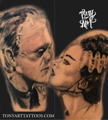 Tattoos - Frankenstein and his bride,bride of frankenstein ,horror ,horror tattoos black and grey tattoo,realistic, portrait tattoos,portraits ,horror portraits  - 93444