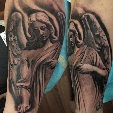 Tattoos - GAURDIAN ANGEL TATTOO,BLACK AND GREY - 100047