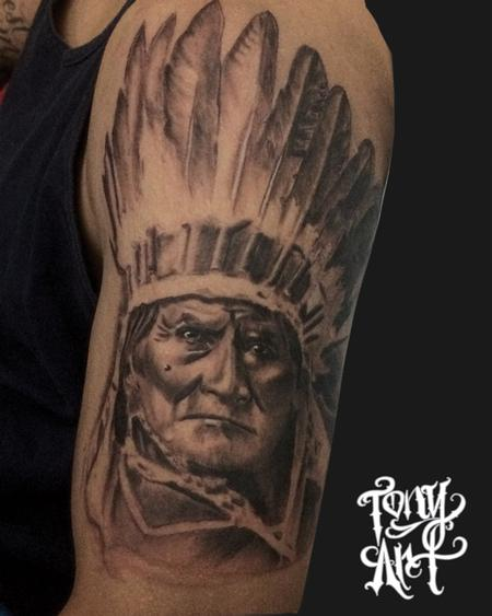 Tony Tapia - Geronimo ,native,tattoo,black and grey,realistic tattoos,