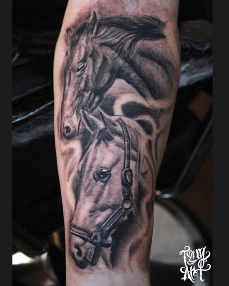 Tony Tapia - Honour thy father and thy mother: ,Horse tattoos,Animal Portrait,Black and Grey Tattoos,Realistic Tattoos