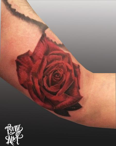 RED ROSE ,COLOR ROSE , Tattoo Design Thumbnail