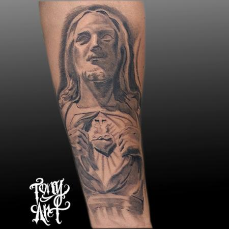 Tattoos - Jesus sculpture,Black and grey ,sacred heart , - 100196