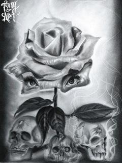 Tattoos - Skulls and Roses - 91983