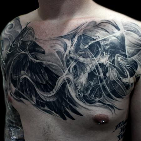 raven skull chest Tattoo Design Thumbnail