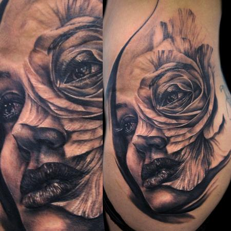 Tattoos - rose face morph - 74743
