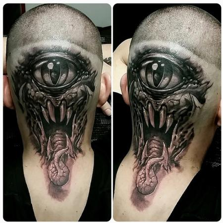 Tattoos - cyclops monster on head - 128778