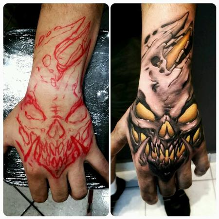 Tattoos - yellow b&g hand tattoo - 128769