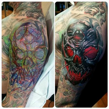 Tattoos - freehand & result skull cover-up with red - 128759