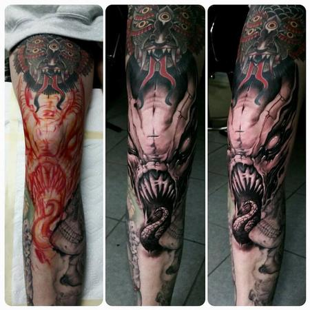 Tattoos - evil knee monster - 128772