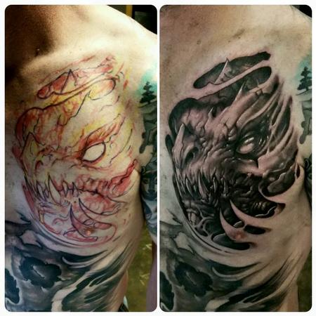 Tattoos - monster on chest - 128774