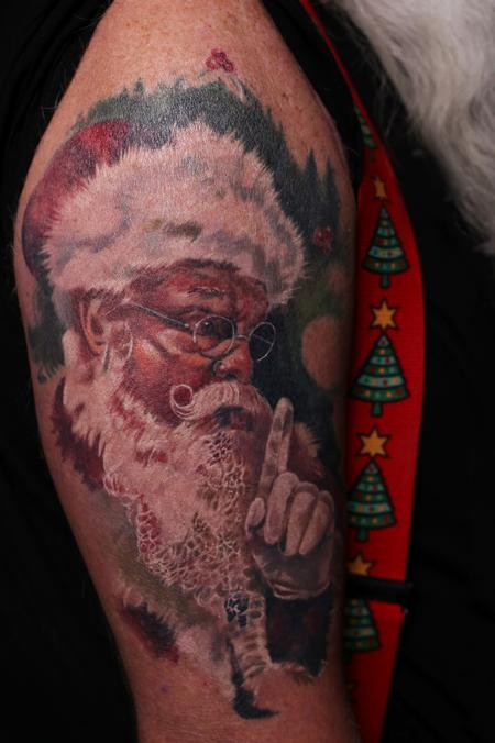 Santa Claus Half Sleeve Tattoo Design