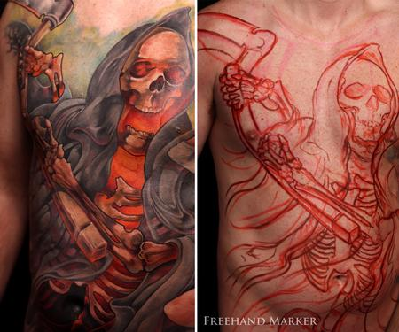 Tattoos - Full Back Reaper - 129786