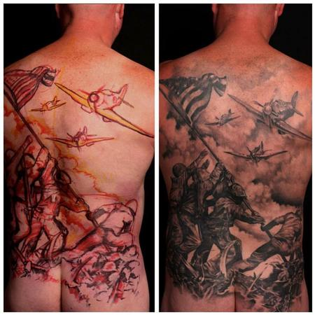 Iwo Jima Backpiece Tattoo Design Thumbnail