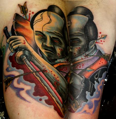 Travis Litke - Travis Litke Samurai Bicep Tattoo