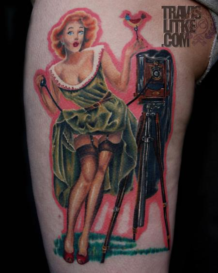 Travis Litke - Vaughan Bass Peek A Boo Pin Up Girl Tattoo