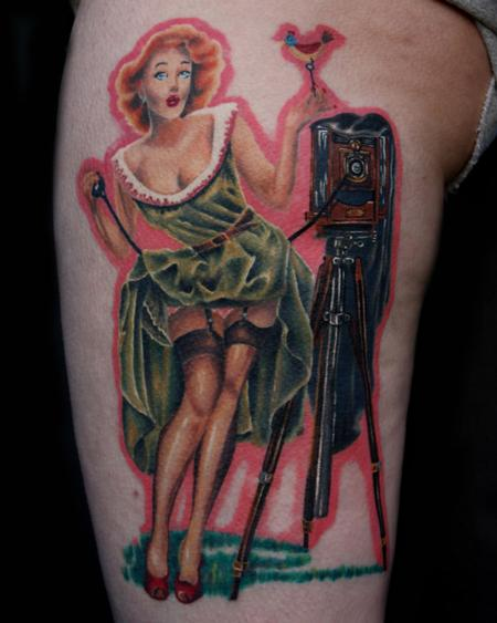Tattoos - Vaughan Bass Pin Up Girl Tattoo Travis Litke Bloomington Indiana - 133160