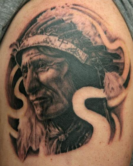 Travis Litke - Black and Gray Portrait of Black Bear Oglala Lakota Indian Chief