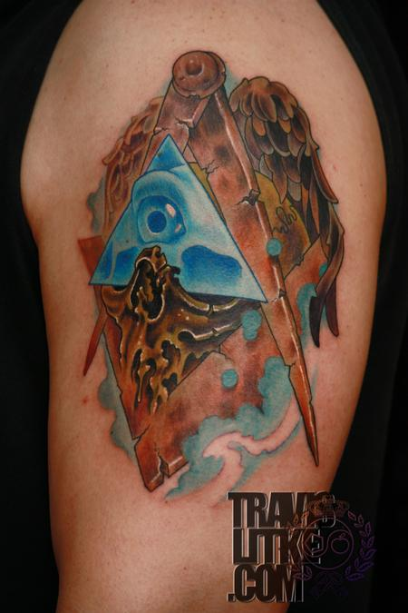 Travis Litke - Freemason Masonic Skull Compass Square All Seeing Eye Tattoo