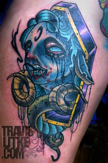 Tattoos - Tattoo of the Day Girl in a Coffin - 91703