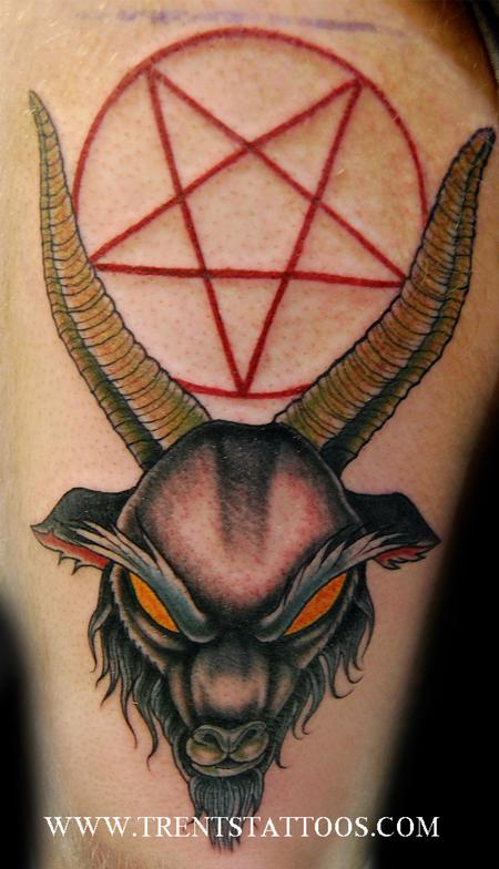 Trent Edwards - Evil goat tattoo