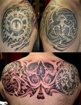 Tattoos - Gears bio skull - 27497