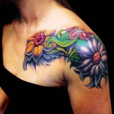 Tattoos - Mike Cole - Flower Shoulder Sleeve