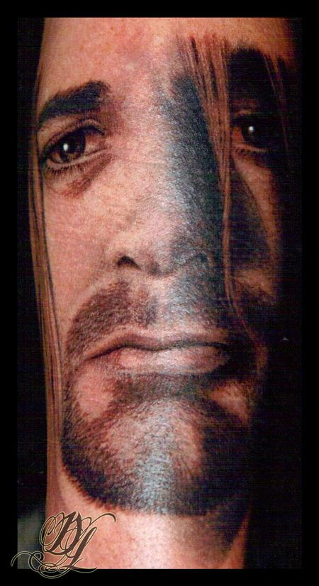 Dave Lukeson - Black and Gray Curt Cobain Portrait Tattoo