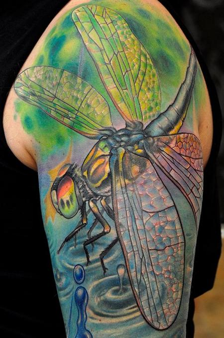 Dragonfly half sleeve tattoo