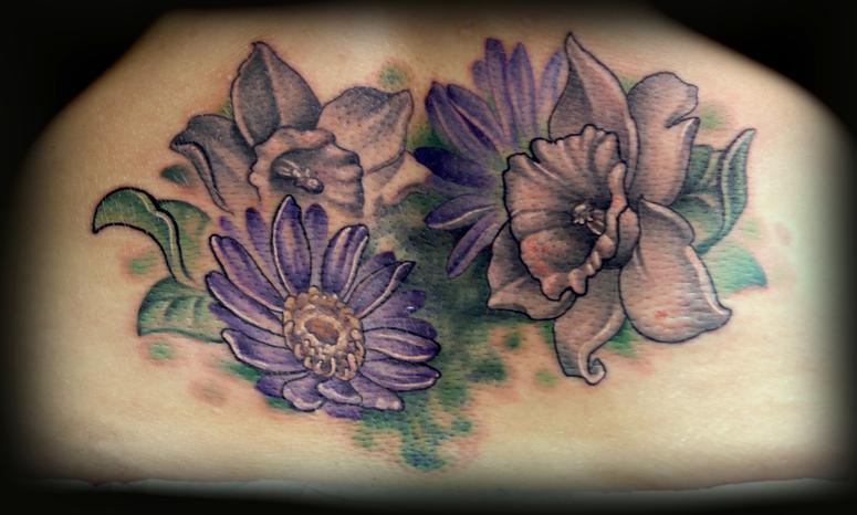 Kelly Doty - Aster and Daffodil tattoo. Large Image Leave Comment