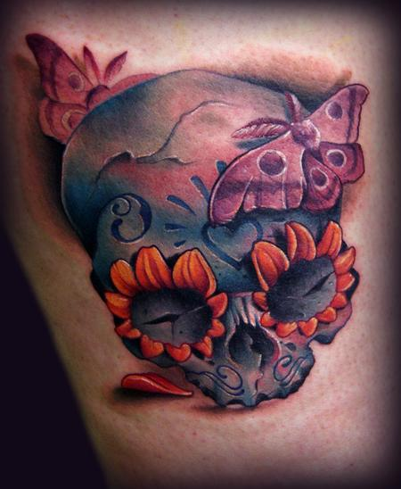 Kelly Doty - Day of the Dead Skull and Moths