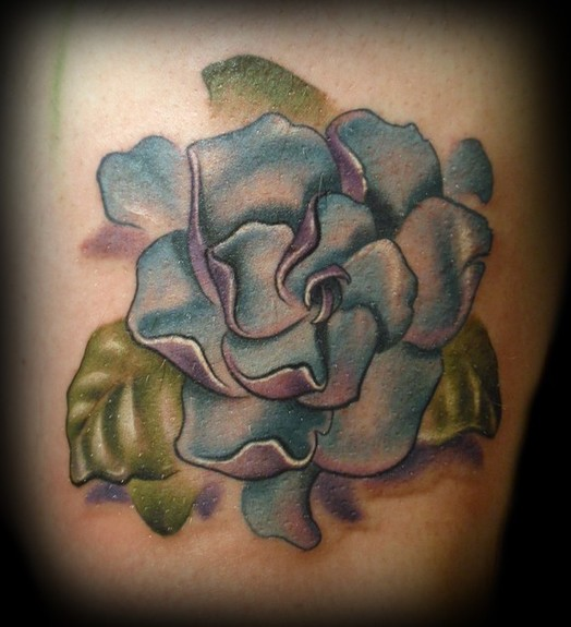 Kelly Doty - Blue and Purple Gardenia tattoo