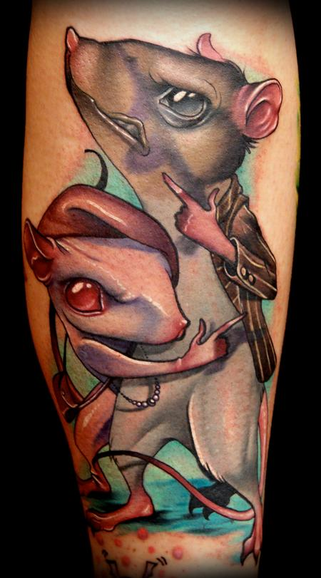Kelly Doty - Bonnie and Clyde Rats tattoo