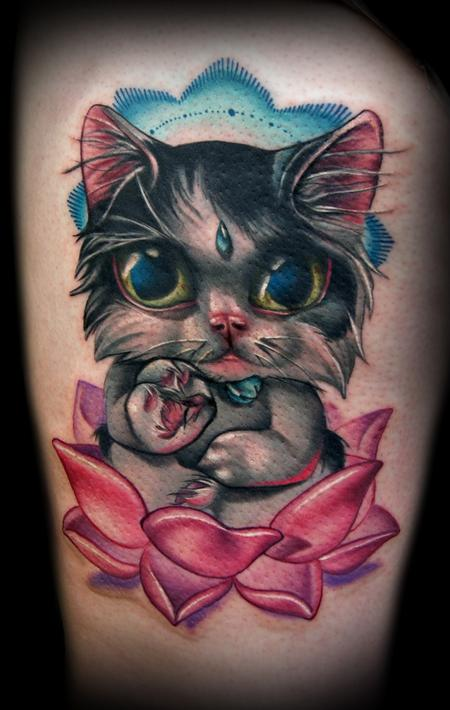 Kelly Doty - Buddha Cat tattoo