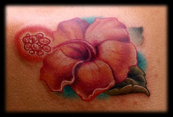 Picture Flower Tattoos on Canary Hibiscus Flower Tattoo   Tattoos