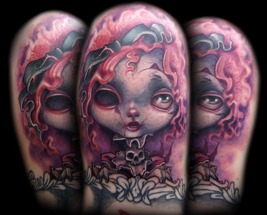 Creepy Doll tattoo Tattoo Design Thumbnail