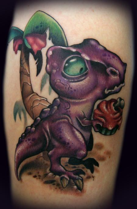 Kelly Doty - Dinosaur vs. Cupcake tattoo