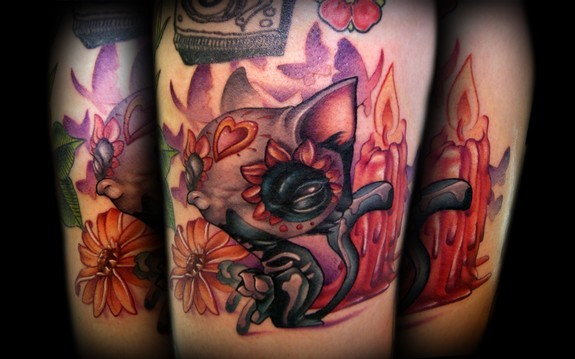 Kelly Doty - Day of the Dead Cat Scootin tattoo