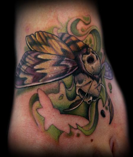 Kelly Doty - Double Deaths Head Moth tattoo