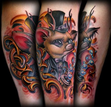 Kelly Doty - Fancy Fennec Fox and Filagree collab tattoo with Dave Barton