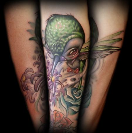 Kelly Doty - Creepy Big-Headed Hummingbird tattoo
