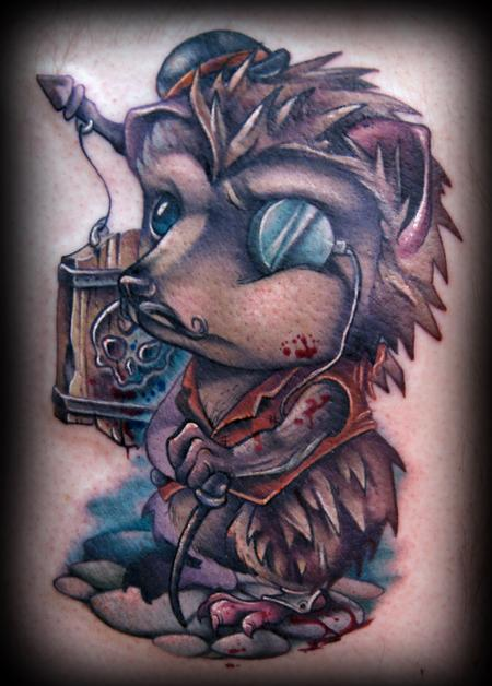 Off the Map Tattoo : Tattoos : Kelly Doty : Murderous Hedgehog tattoo