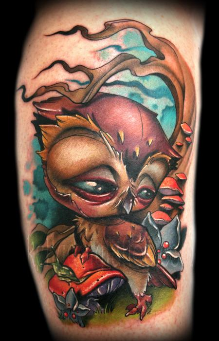 Kelly Doty - Owls conquer mushrooms tattoo