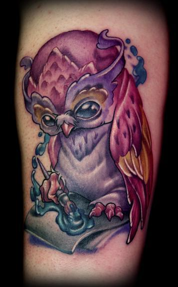 Kelly Doty - Cute Painting Owl tattoo