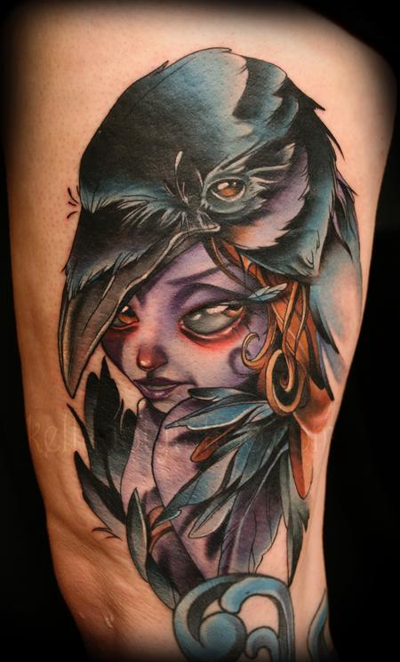 Kelly Doty - Crow Lady tattoo