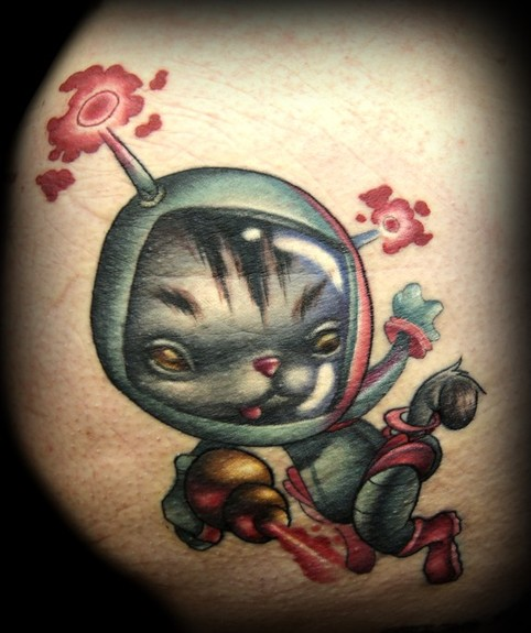 Kelly Doty - Space Kitty tattoo